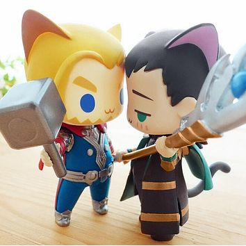 Superhero Alliance Thor Loki cat q version cute Action figure Super hero model PVC dolls toys Animation Cute For Gifts 256