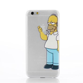 Transparent Simpson case cover TPU soft cell phone cases covers For iPhone 5 5S 6 6S 6Plus 7 7plus