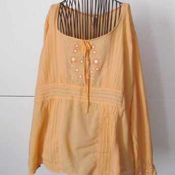 Peach Gauze Blouse Womens sz 2x Blouse Embroidered  Blouse Beaded Blouse 2XL XXL Indian Blouse India Clothing