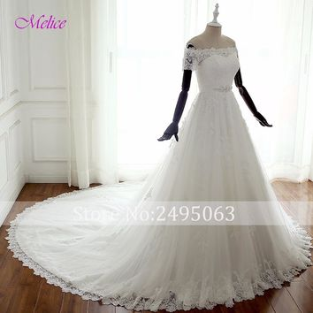 Melice Boat Neck Short Sleeve A-Line Princess Wedding Dress 2018 Beaded Sashes Appliques Bohemian Wedding Gown Vestido de Noiva
