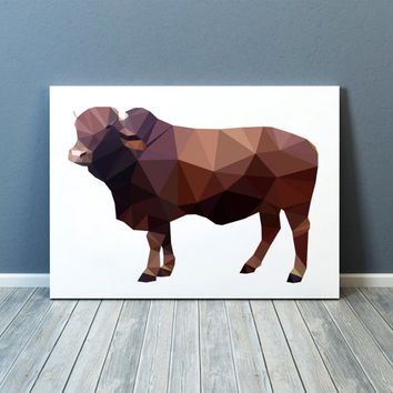 Ox poster Modern art Farm animal print Colorful decor TOA80