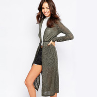 Gray-Green Loose Knit Cardigan With Side Slits