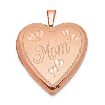 925 Sterling Silver Rose Gold-plated 20mm MOM Heart Locket