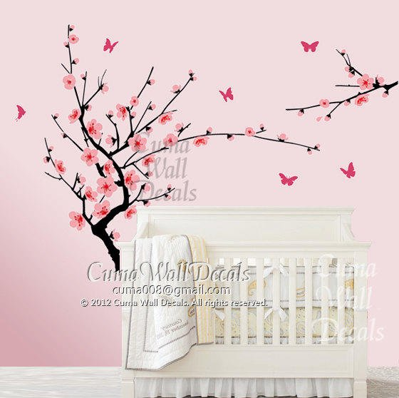 White cherry blossom wall decals flower from cuma on etsy for Cherry blossom mural works