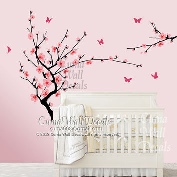 white cherry blossom  wall decals flower butterfly wall decals nursery wall decals wall mural vinyl- tree floral wall sticker art Z136 cuma