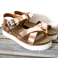 Metallic Rose Gold Sandal Platform