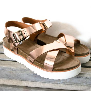 Metallic Rose Gold Sandal Platform| Best Seller