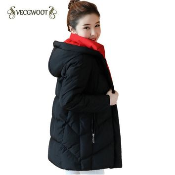 Winter Down jacket 2017 New Fashion Warm Hooded Comfortable High-quality Solid color Long-sleeved Women Down jacket SES860