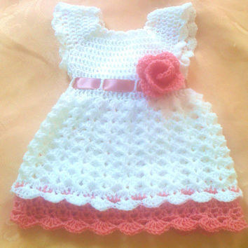 White Pink Baby Frock,Toddler Clothes,  Newborn Outfit Dress Shower gift Photo prop Take home  Christening Infant Summer Dress