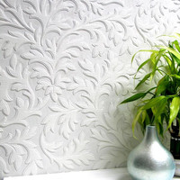 Sample of High Leaf Paintable Textured Wallpaper design by Brewster Home Fashions