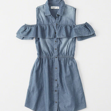 girls Cold-Shoulder Ruffle Dress | girls dresses & rompers | Abercrombie.com