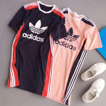 ADIDAS WOMEN fashion stripe short sleeve long dress H-A-ALCLFS