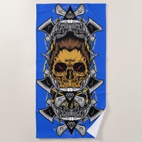 Skull Of The AX Model Blue Color Beach Towel