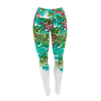 "Ebi Emporium ""Floral Cascade 7"" Teal Red Yoga Leggings"