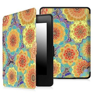 Fintie Case for Kindle Paperwhite - The Thinnest and Lightest PU Leather Cover Auto Sleep/Wake for All-New Amazon Kindle Paperwhite (Fits All 2012, 2013, 2015 and 2016 Versions), Summer Dahlia