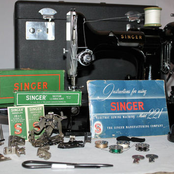 Vintage 1955 Singer 221 Portable Featherweight Sewing Machine and Carrying Case with Attachments