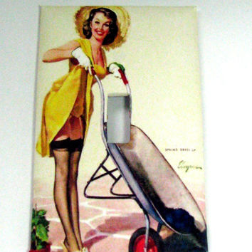Light Switch Cover - Light Switch Plate Vintage Pin Up Girl Art Gardening