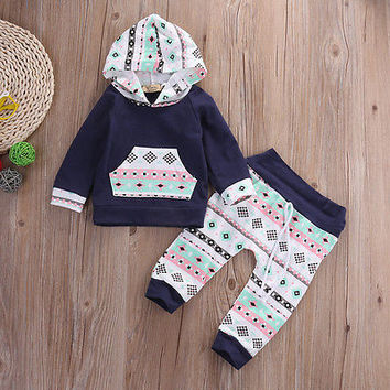 autumn spring fall warm Newborn Kids toddler Infant Baby Boy Girl children kids Clothes Hoodies Top+Pants Leggings Outfits Set