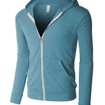 LE3NO PREMIUM Mens Lightweight Long Sleeve Full Zip up Hoodie Jacket