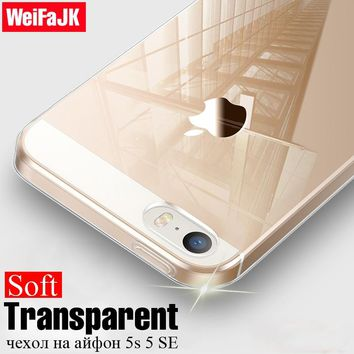 WeiFaJK Clear TPU Soft Phone Case for iPhone 5s Cases Transparent Coque Silicone Cover for Apple iPhone 5 6 7 Plus 8 Case Fundas