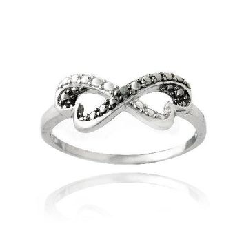 925 Silver Black Diamond Accent Infinity Heart Ring