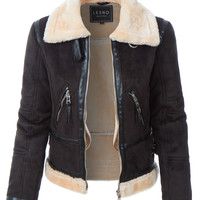 LE3NO Womens Winter Shearling Faux Fur Suede Biker Moto Jacket Coat (CLEARANCE)