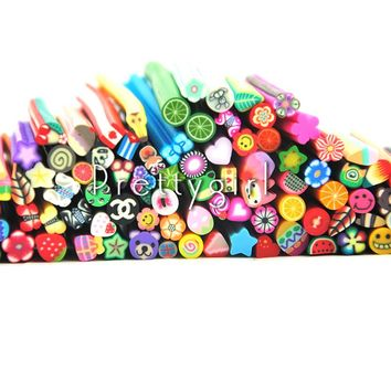 100 Pcs Flowers Fruit Fimo Canes Stick 3D Nail Art Decorations Polymer Clay Canes Nail Stickers Tips 3mm Slices Design