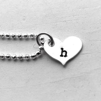 Heart Shaped Initial Necklace, Sterling Silver, All Letters Available, Hand Stamped Jewelry, Gifts for Her, Everyday Letter Necklace