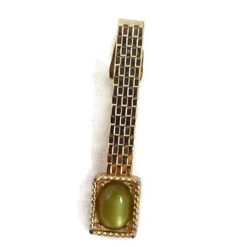 Swank Faux Jade Tie Bar, Vintage Etched Gold Tone Tie Clasp, Suit Accessory, Gift for Him