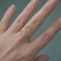Heart ring, Heart wire ring. Gold heart ring