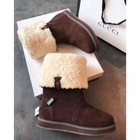 ONETOW Gucci Snow Wool Boots Brown Women Gaotong Boots Thickened Flat Shoes