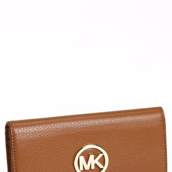 "NWT MICHAEL KORS Luggage Leather ""Fulton"" Flap Continental Wallet $158"