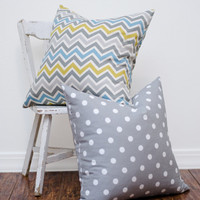 Set Of Two Decorative Pillow Covers, Gray,White Polkadot,Blue,Green,Gray Chevron,Invisible Zipper,20x20 inches- or YOUR size preference