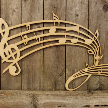 Music Notes Wave- laser cut wood sign