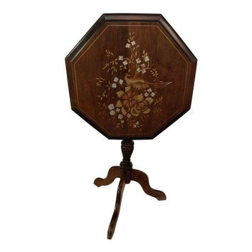 Pre-owned Tilt Top Side Table with Painted Bird Motif