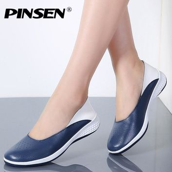 PINSEN Handmade New Summer Hole Loafers Women Flat Leather Moccasin Shoes Woman Slip On Ladies Shoes Casual Flats Moccasins