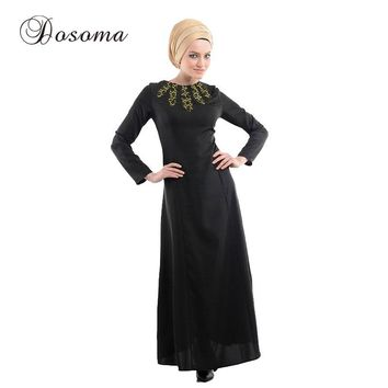 Islamic Abaya Dress Muslim Women Burka  Indian Patch Linen Maxi Bodycon Robe Kimono Vestido Kaftan Instant Hijab Arab Prayer