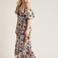 Mariella Grey Floral Wrap Maxi Dress