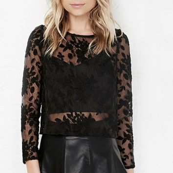 Black Lace Embroidered Long Sleeve Top