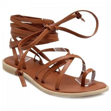 Leisure Flat Heel and Cross Straps Design Sandals For Women - Brown 36