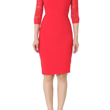 MYLEY Lace Detail Sheath Dress in Red