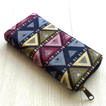 Colorful Triangle Geometric Wallet, AztecTribal Womens Wallet, Teen girl Hipster Wallet, Unique, OOAK, Cute Gift ideas for her
