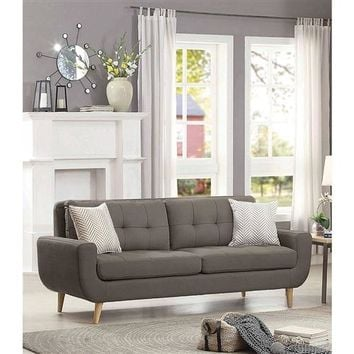 """Ellie"" Mid-Century Modern ""MCM"" Style Sofa Couch in Taupe-Grey Upholstered Fabric"