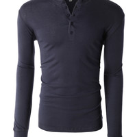 LE3NO PREMIUM Mens Lightweight Long Sleeve Crewneck Raglan Henley Shirt