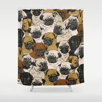 Social Pugz Shower Curtain by Huebucket