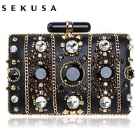 SEKUSA Embroidery Women Handbags Beaded Chain Accessory Metal Day Clutches Party Wedding Evening Bags One Side Diamonds Purse