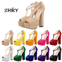 Newest Women Shoes Summer High Heel Pumps Dames Schoenen T-strap High Heels Platform Sandals Wedge Ladies Party Wedding Pumps