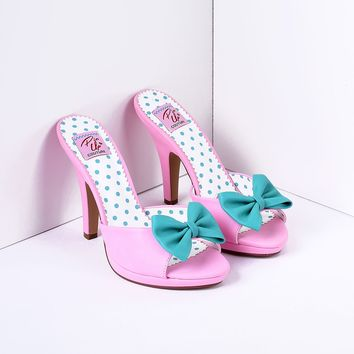 Blush Pink & Teal Bow Faux Leather Siren Peep Toe Heels