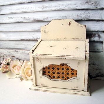 Cream Vintage Recipe Box, Shabby Chic Wooden Recipe Storage Box, Gift Ideas, Cottage Chic Small Storage Box, Distressed Wooden Box