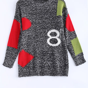 Color Block Spliced Loose-Fitting Sweater